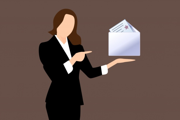 women with envelope